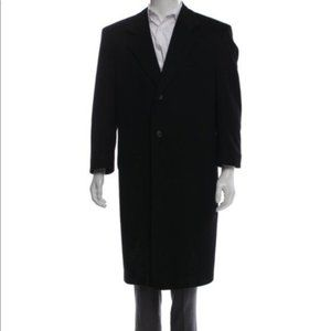 Loro Piana Black Cashmere Notch Lapel Overcoat 38S